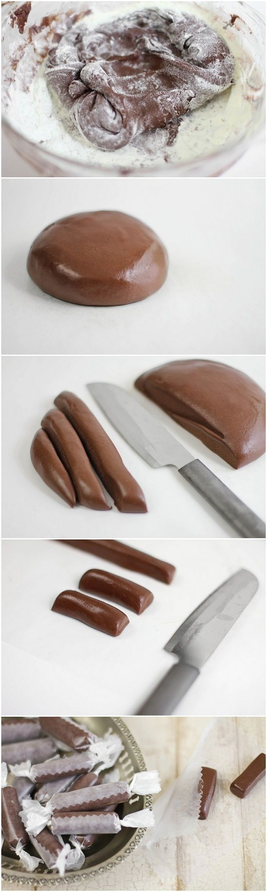 Homemade Tootsie Rolls - Bet the little ones would like to help make these