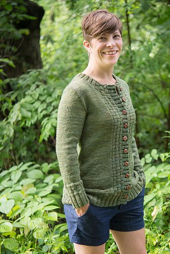Amy Herzog's Fern Ridge cardigan sweater pattern is the first sweater design in our Knitting Boutique Sweater Club.