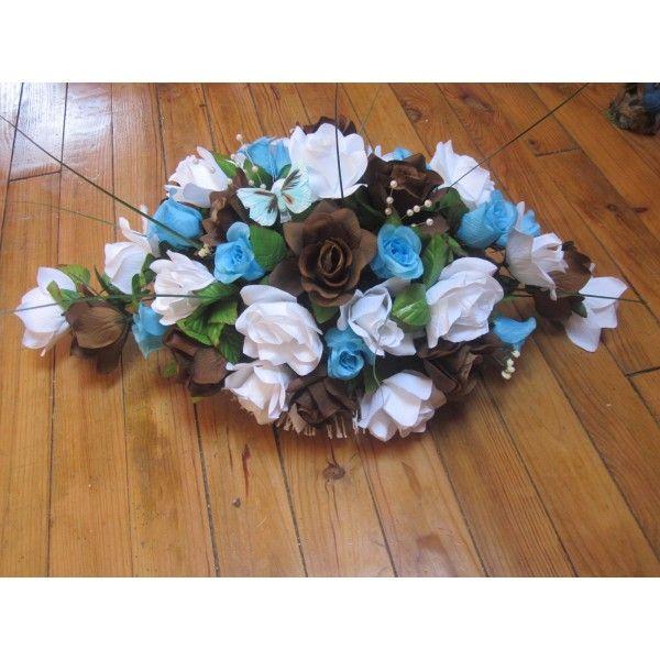 Bouquet De Table Pour Mariage #14: Décoration De Voiture (attache Avec Ventouse)ou Décoration De Table. La  Composition Est