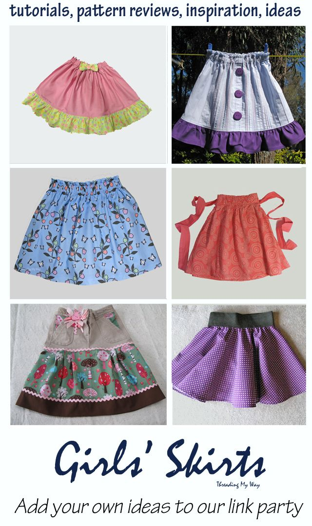 Skirts for Girls Link Party... tutorials, pattern reviews, ideas and inspiration for skirt sewing ~ Threading My Way
