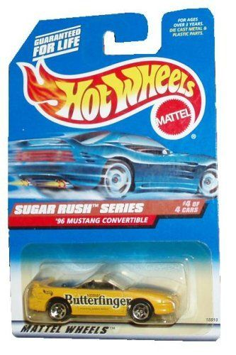 Mattel Hot Wheels 1997 Sugar Rush Series 1:64 Scale Die Cast Metal Car # 4 of 4 - Nestle Butterfinger Yellow Sport Coupe 1996 Mustang Convertible (Collector No. 744) by Mattel. $7.99. For age 3 and up. 1:64 Scale. Diecast Metal & Plastic Parts. Realistic Details. Mattel Hot Wheels 1997 Sugar Rush Series 1:64 Scale Die Cast Metal Car # 4 of 4 - Nestle Butterfinger Yellow Sport Coupe 1996 Mustang Convertible (Collector No. 744)