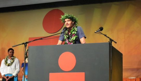 2015 Ironman world champion Jan Frodeno took the stage at the Banquet of Champions the Sunday following the race.
