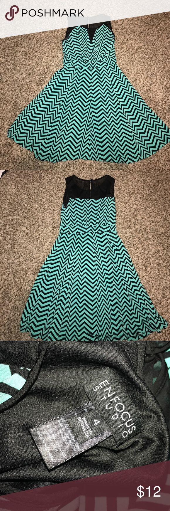 Teal and Navy Chevron Dress Cute chevron dress. A little worn in the arms. Enfocus Studio Dresses Midi