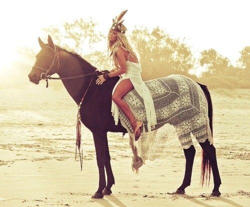 Girl on horse fashion +animals ,white dress Indian style