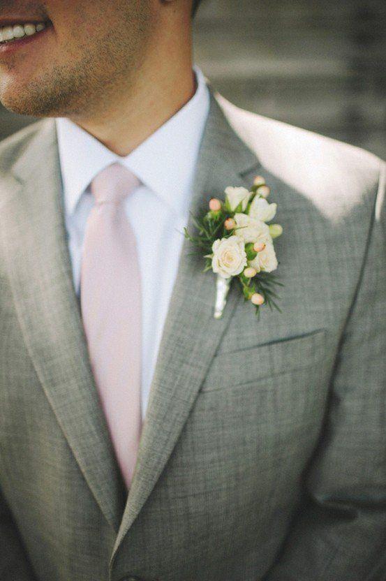 gray suit blush tie