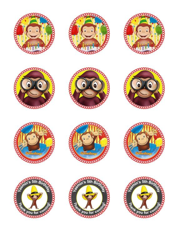 Curious George Cupcake Toppers  Curious George Birthday Party