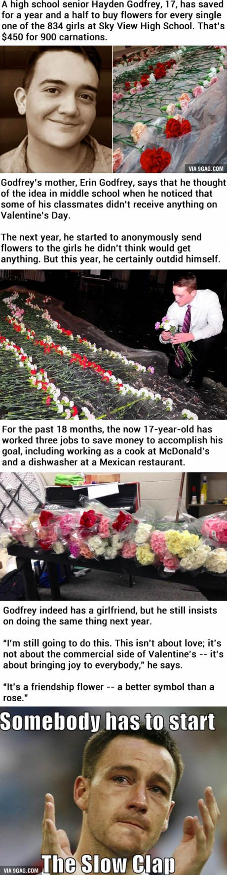 This boy bought flowers for all 834 girls at his school for Valentine's Day