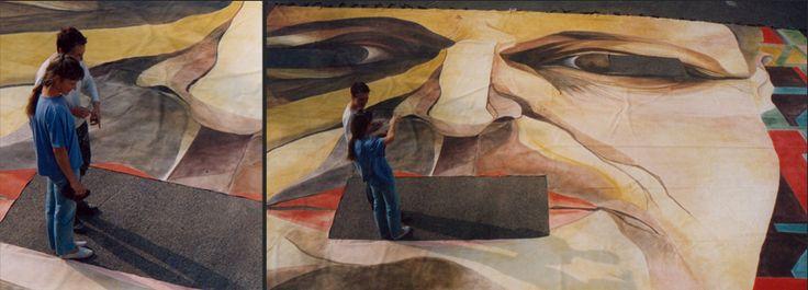 Théatre Mogador - 1993  Toile de fond de décor de Starmania.