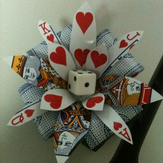 Awesome Hearts Playing Card Flower for your hair. Perfect for the fancy dress ball I have coming up :)