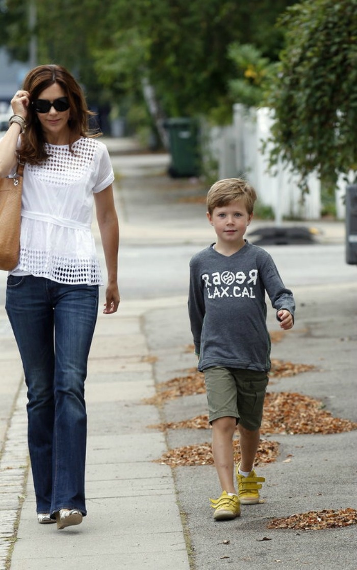 I'm looking for a simple white shirt like this. Crown Princess Mary of Denmark with Prince Christian - Aug. 2012