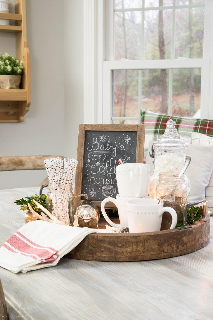 Cute Holiday Tray Idea!!! Christmas 2016 Nina Hendrick Holiday Housewalk | Hot Chocolate Display