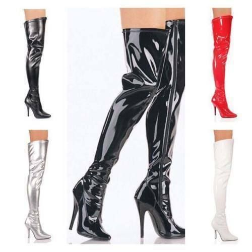 NEW LADIES MENS THIGH HIGH OVER KNEE LACE UP BOOTS STILETTO HEEL SIZ 3-12