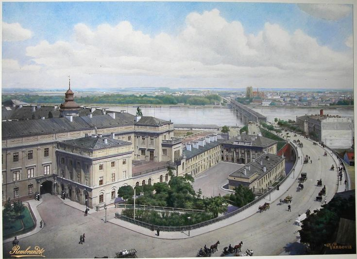 The Royal Castle and Wisla (Vistula) riverbanks @ the beginning of XX c., Warsaw, Poland