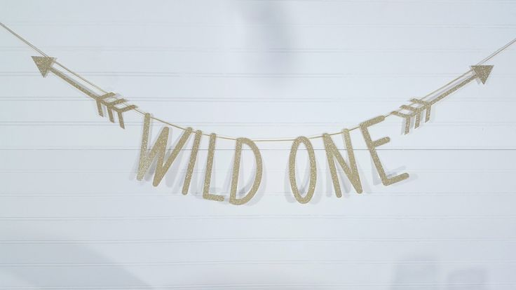 Arrow Wild One Gold Glitter Banner > Wild One First Birthday Party Decor Garland by eventprint on Etsy https://www.etsy.com/listing/471159354/arrow-wild-one-gold-glitter-banner-wild