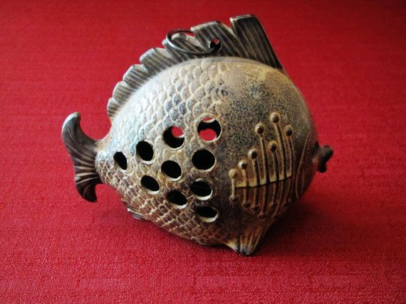 Vintage Ceramic Hanging Fish Tea Light Candle by EarthnGlass, $22.00
