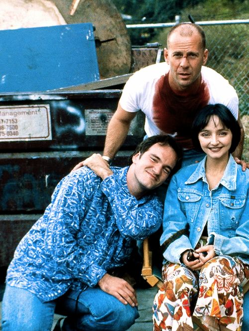 "Quentin Tarantino, Bruce Willis and Maria de Medeiros on the set of ""Pulp Fiction!"""