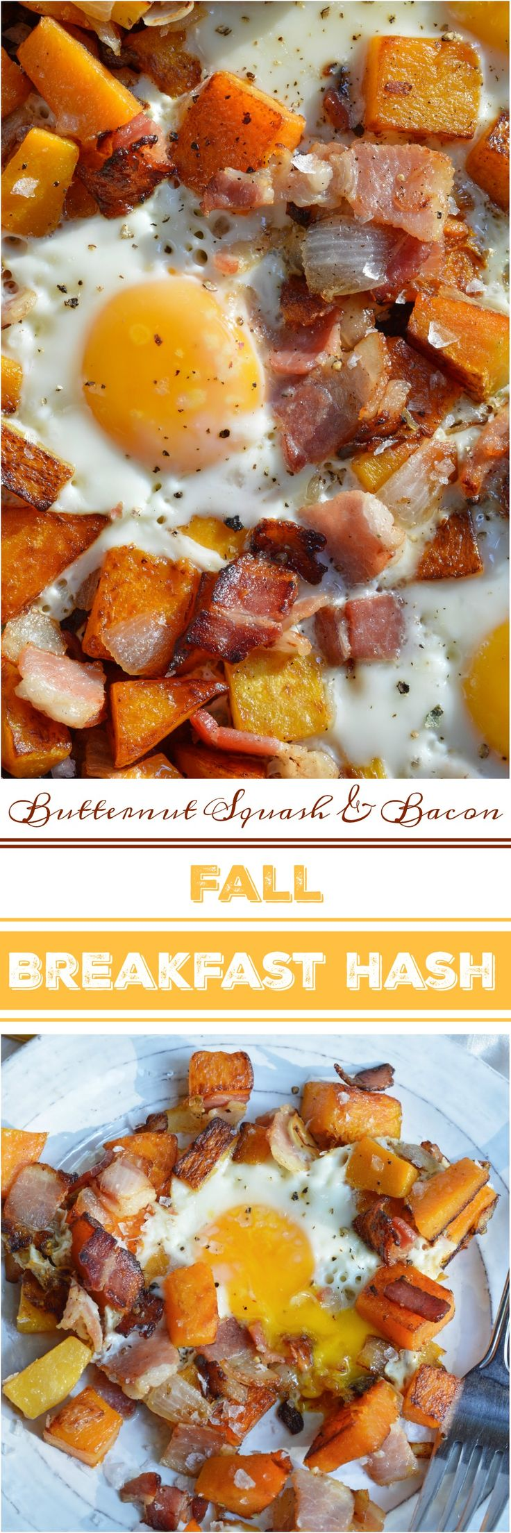 The air is getting chilly and it is time for cozy comfort food. This Fall Breakfast Hash Recipe will get you going in the morning! It is an easy breakfast recipe made with butternut squash, bacon, onions and eggs. ad