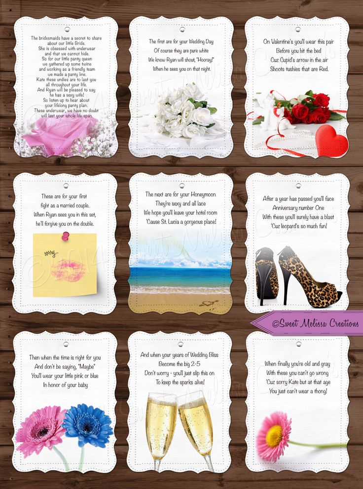 Lifelong Panty Line Poem - Bridal Shower - Bachelorette Party - Lingerie Clothesline- Panty Poem - Cards by Sweet Melissa Creations by SweetMelissaCreation on Etsy https://www.etsy.com/listing/125213203/lifelong-panty-line-poem-bridal-shower