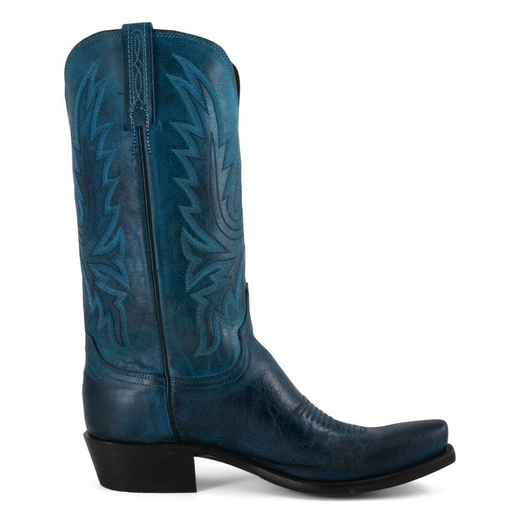 Men's Lucchese Boots Ocean Blue Burnished Mad Dog Goat #N9752-7/4
