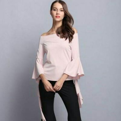 Pure Color Strap Of The Blouse Apricot | pinknee.com