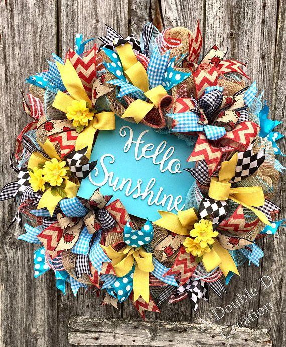 Hello Sunshine Wreath Summer Wreath Everyday Wreath