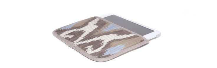 Чехол для Apple iPad Mini, бежевый с голубым в бежевой окантовке