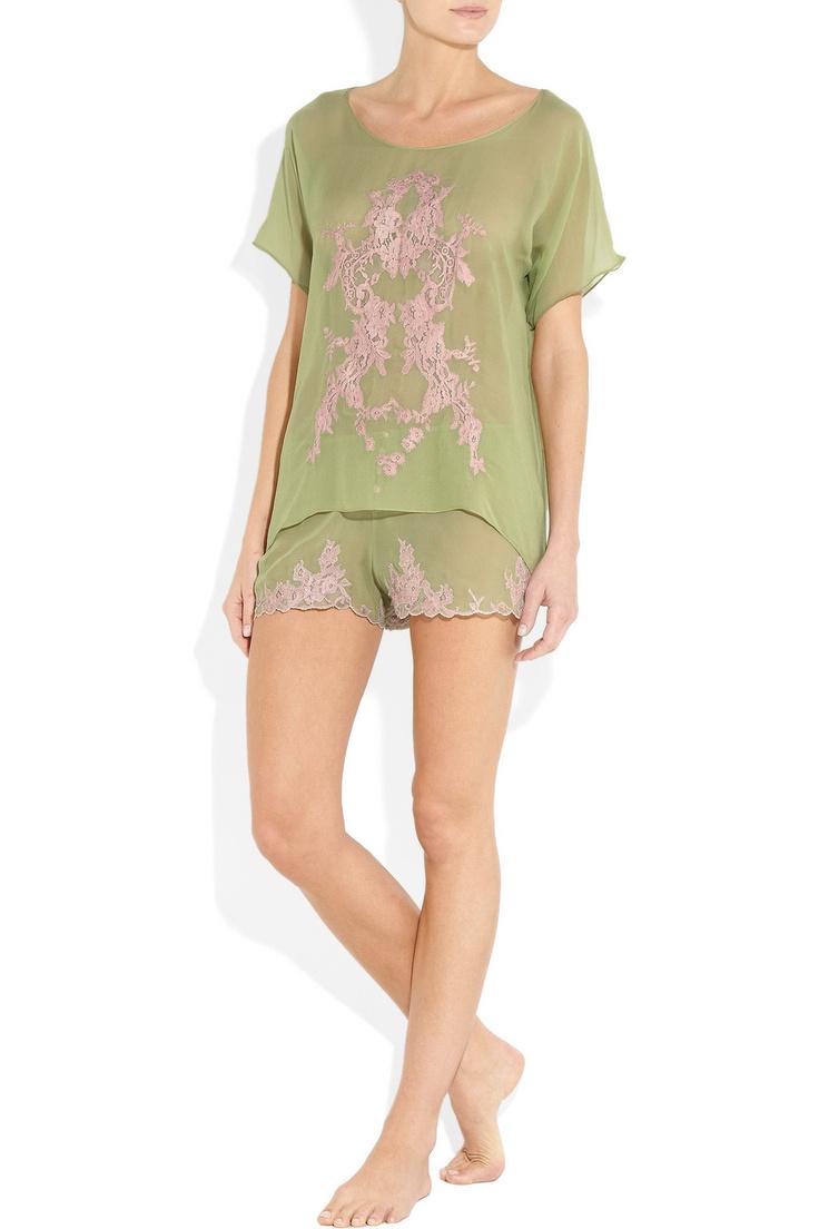Rosamosario venetian lace silk-crepe pink and green lingerie