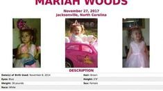 FILE - This image released by the FBI shows the seeking information poster for Mariah Woods. The FBI says more than 700 people came to join in the search for Woods, a missing North Carolina child. A statement from the FBI said Friday, Dec. 1, 2017 initial search finished more quickly than anticipated because of the number of people who turned out. Authorities have been searching for 3-year-old Woods, who was reported missing from her home on Monday. (FBI via AP, File)