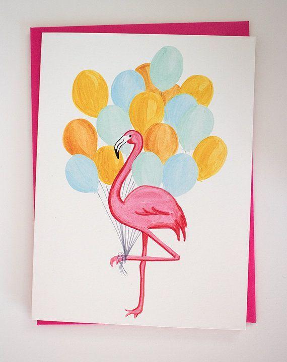 Именины, открытки с фламинго с днем рождения