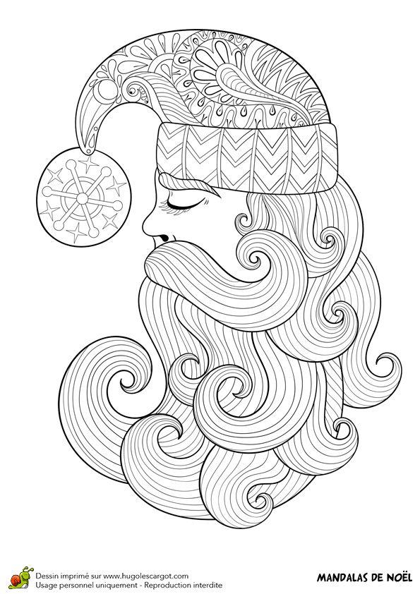 Dessin à colorier d\'un mandala profil de père Noël - Hugolescargot ...