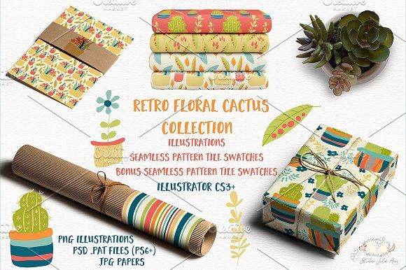 Retro Floral Cactus Collection by Studio Julie Ann on @creativemarket