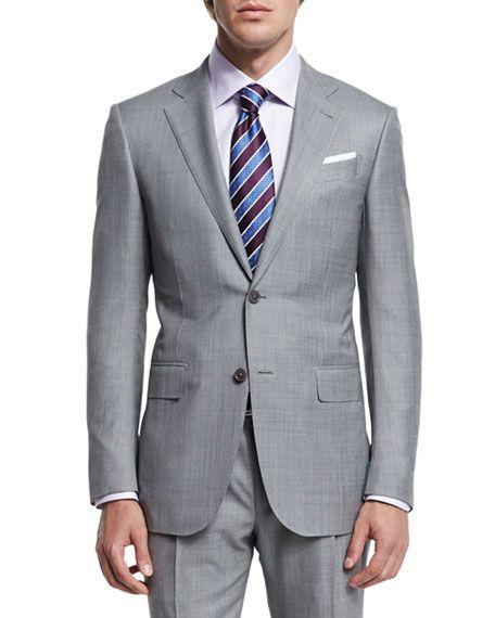 98e44352e07147 ERMENEGILDO ZEGNA Sharkskin Two-Piece Trofeo® Wool Suit, Light Gray, Light  Grey. #ermenegildozegna #cloth #