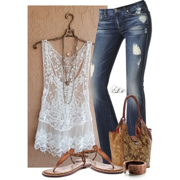 """""""Lace Tank"""" by tmlstyle on Polyvore and I love the purse."""