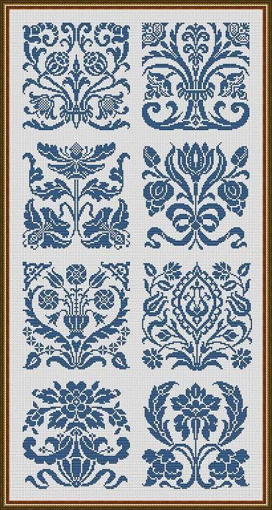Art Nouveau Motifs Flowers Samplers Monochrome by MyTreasureIsland