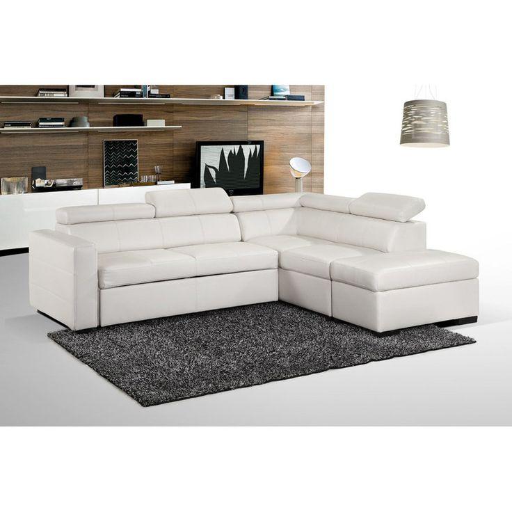 canap d 39 angle convertible simili cuir avec pouf. Black Bedroom Furniture Sets. Home Design Ideas