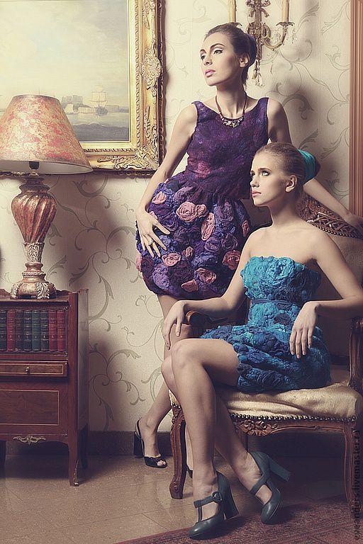 Купить Платье тюльпан - фиолетовый, цветочный, мерино шерсть, шелк, коконы…