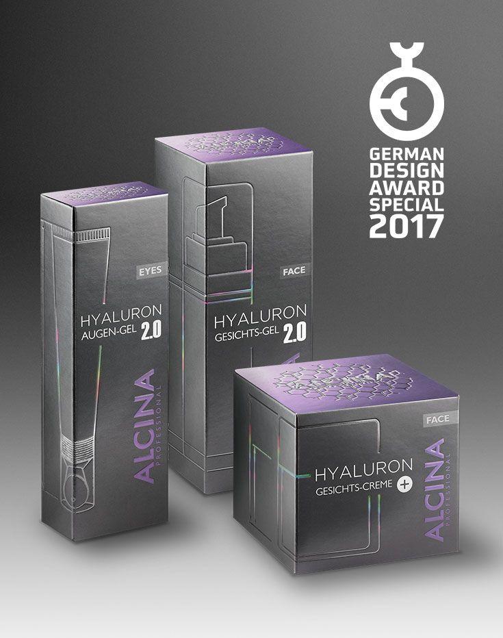"""Philipp Seine Helden gewinnt German Design Award 2017 für das Packaging der Hyaluron Pflegeserie von Alcina. DIe Werbeagentur aus Köln wurde für ein herausragendes Verpackungsdesign mit dem Prädikat """"Special Mention"""" ausgezeichnet. #design #packaging #germandesignaward #verpackung"""