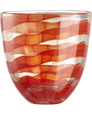 Milky white threads ad vivid re strokes wind round grand scaled vase in a spectacular play of colour.