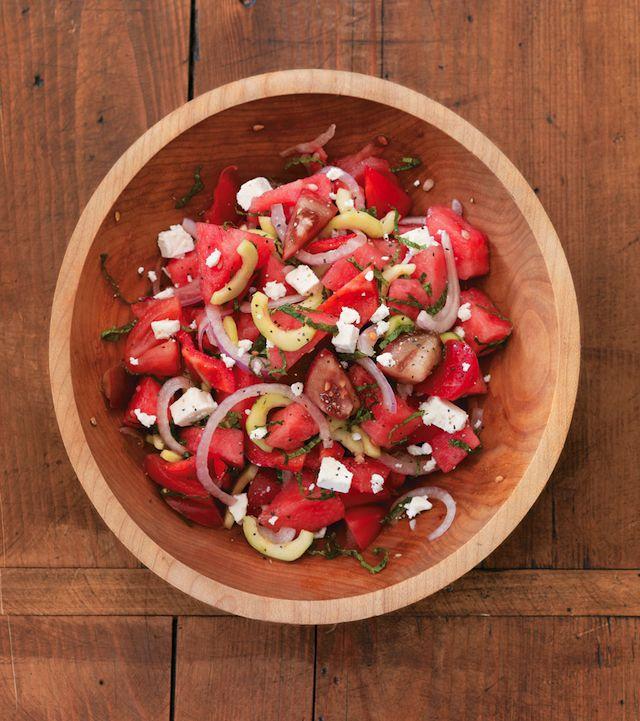 Tomato-Watermelon-Salad: Feta Chee Recipes, Feta Cheese Recipes, Food, Watermelon Feta Salad, Tomatoes Watermelon Salad, Summer Salad, Dinners Parties, Steami Kitchens, Summer Recipes