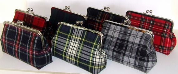 Wool Clutch - Black Watch Scottish Tartan - Deep Navy Blue and Forest Green Plaid - made with Wool from Pendleton Oregon