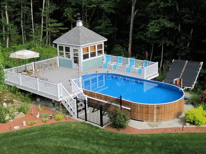 Above ground pools decks idea above ground swimming pool for Pool landscape design ideas