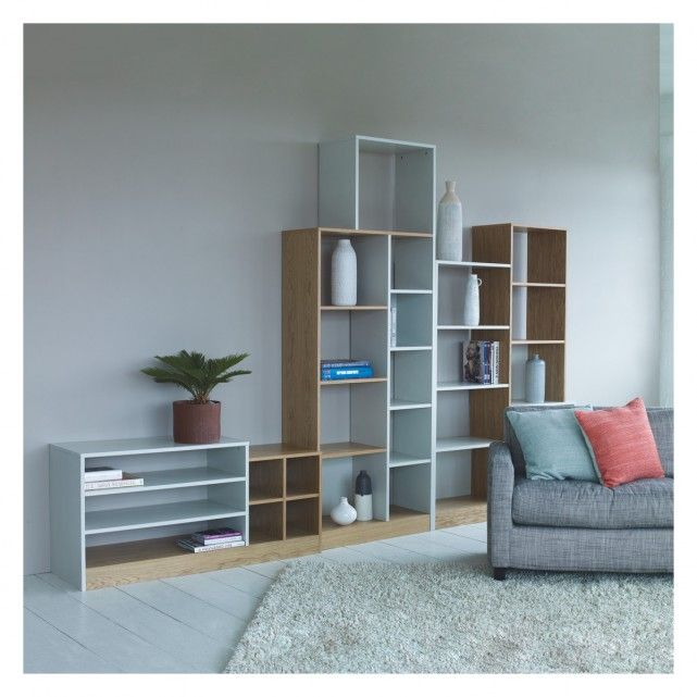 MILES Oak and linen white tall shelving unit | Buy now at Habitat UK