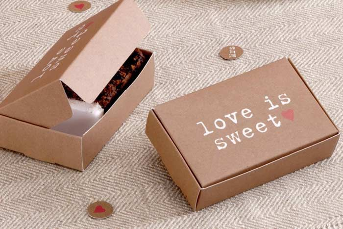 Your guests will love taking home these adorably appropriate 'love is sweet' cake boxes from Wedding in a Teacup