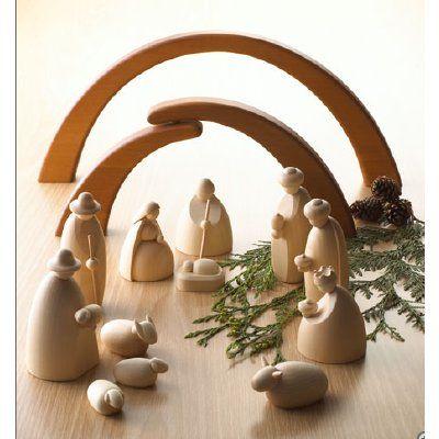 Modern All-wood Nativity Scene - photo
