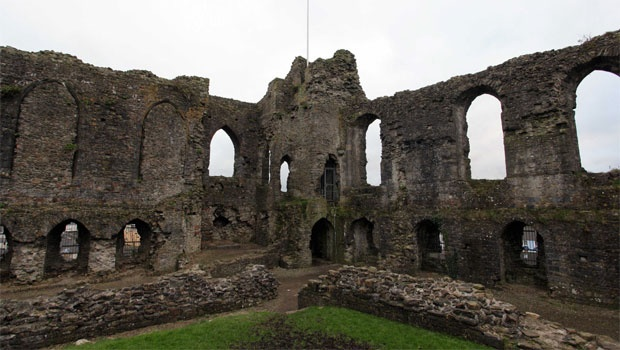 The 12th century ruins of Haverfordwest Castle, Pembrokeshire, Wales