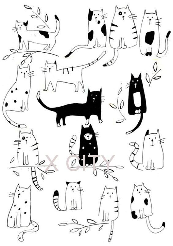 Funny Cats Pet Cute Cartoon Wall Art Decal Sticker…