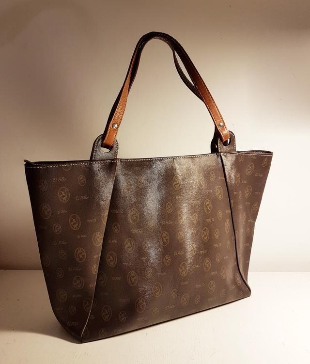 a0279b2d3 Shopper EL POTRO piel genuina grabada marrón   bolsos   Tote Bag y Bags