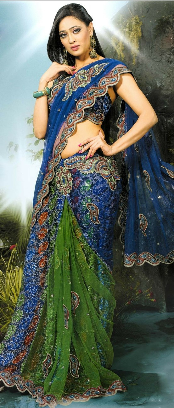 Light #Green and #Blue Net #Lehenga Style #Saree with Blouse @ $90.73