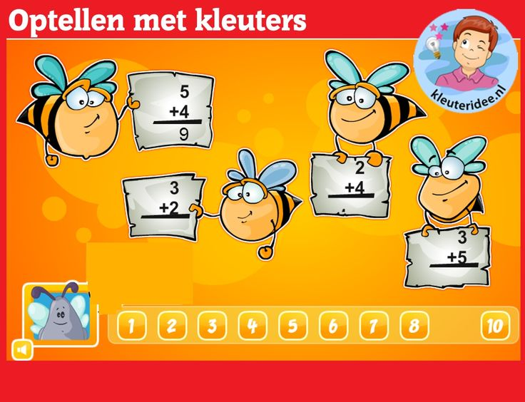 Optellen met kleuters op digibord of computer op kleuteridee.nl, thema bijen,  Kindergarten educative  math game for IBW or computerOptellen met kleuters op digibord of computer op kleuteridee.nl, thema bijen,  Kindergarten educative  math game for IBW or computer