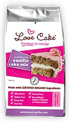 Love Cake Organic Vanilla Cake Mix. Makes a deliciously fragrant vanilla cake.  Ice and fill with your favourite dairy free icing (we love raspberry & coconut!).  Or alternatively make an upside down fruit cake.  Simply layer your fruit (slices of plums or pineapple are great) over the bottom of your cake pan, sprinkle with sugar, then pour your cake mix over the top and bake.